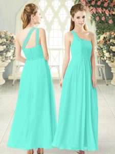 Customized Aqua Blue Prom Gown Prom and Party with Ruching One Shoulder Sleeveless Zipper