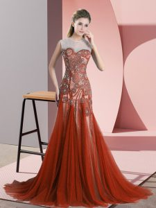 Affordable Scoop Sleeveless Tulle Prom Dresses Beading Sweep Train Backless