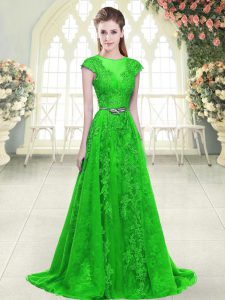 Dynamic Green Prom Gown Scoop Cap Sleeves Zipper