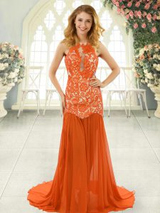 Flirting Orange Red Mermaid Lace Homecoming Dress Backless Chiffon Sleeveless