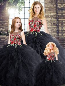 Floor Length Zipper Sweet 16 Quinceanera Dress Black for Military Ball and Sweet 16 and Quinceanera with Embroidery and Ruffles