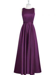 Best Ruching and Pleated Prom Dress Eggplant Purple Backless Sleeveless Floor Length