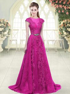 Tulle Scoop Cap Sleeves Sweep Train Zipper Lace and Appliques Prom Dresses in Fuchsia