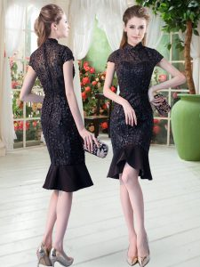 Black High-neck Neckline Lace Homecoming Dress Short Sleeves Zipper