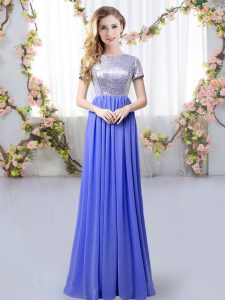 Customized Lavender Empire Chiffon Scoop Short Sleeves Sequins Floor Length Zipper Quinceanera Court Dresses