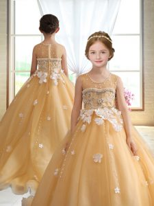 Stunning Organza Scoop Sleeveless Brush Train Zipper Beading and Appliques Little Girls Pageant Dress Wholesale in Gold