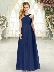 Floor Length Zipper Prom Evening Gown Navy Blue for Prom and Party with Ruching