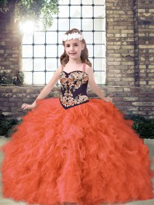 Dramatic Orange Red Sleeveless Tulle Lace Up Girls Pageant Dresses for Party and Wedding Party