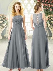 Classical Ankle Length Grey Prom Gown Chiffon Sleeveless Lace