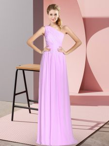 Empire Dress for Prom Lilac One Shoulder Chiffon Sleeveless Floor Length Lace Up