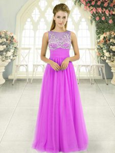 Best Selling Floor Length Empire Sleeveless Lilac Evening Party Dresses Side Zipper