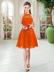 Best Selling Rust Red A-line Scoop Sleeveless Lace Knee Length Zipper Prom Evening Gown