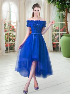 Royal Blue Lace Up Dress for Prom Appliques Short Sleeves High Low