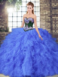 Tulle Sleeveless Floor Length Quinceanera Gown and Beading and Embroidery