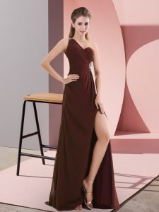 Empire Sleeveless Burgundy Homecoming Dress Sweep Train Backless