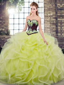 Ideal Ball Gowns Sleeveless Yellow Green Quince Ball Gowns Sweep Train Lace Up