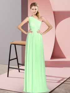 Hot Sale Sleeveless Chiffon Floor Length Lace Up in with Ruching
