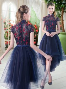 Most Popular Navy Blue Tulle Zipper High-neck Short Sleeves High Low Prom Party Dress Lace