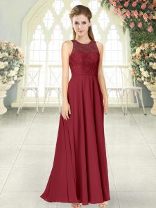 Affordable Floor Length Burgundy Dress for Prom Scoop Sleeveless Backless