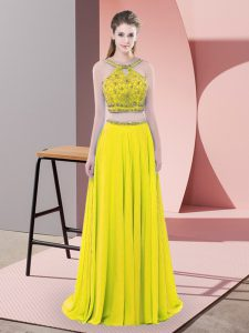 Smart Yellow Chiffon Backless Straps Sleeveless Prom Dresses Sweep Train Beading