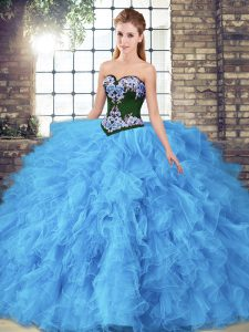 Most Popular Baby Blue Tulle Lace Up Sweetheart Sleeveless Floor Length Quinceanera Dress Beading and Embroidery