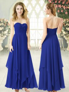 Ankle Length Royal Blue Chiffon Sleeveless Ruching