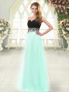 Chic Floor Length Apple Green Prom Party Dress Tulle Sleeveless Appliques