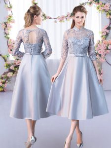 A-line Damas Dress Silver High-neck Satin Half Sleeves Tea Length Lace Up