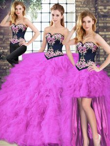 Fancy Floor Length Fuchsia Quinceanera Gowns Tulle Sleeveless Beading and Embroidery