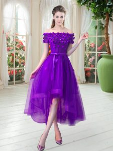 Super Purple A-line Appliques Prom Evening Gown Lace Up Tulle Short Sleeves High Low