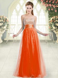 Traditional Orange Red A-line Sweetheart Sleeveless Tulle Floor Length Lace Up Beading Evening Dress