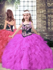 Tulle Sleeveless Floor Length Pageant Gowns For Girls and Embroidery and Ruffles