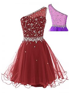 Wine Red Dress for Prom Prom and Party with Beading One Shoulder Sleeveless Side Zipper