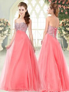 Suitable Beading Watermelon Red Lace Up Sleeveless Floor Length