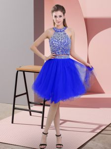 Artistic Organza Halter Top Sleeveless Backless Beading Prom Evening Gown in Royal Blue