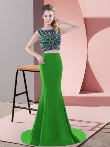 Sleeveless Beading and Pick Ups Backless Prom Party Dress with Green Sweep Train