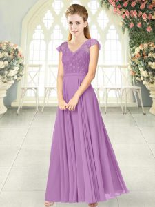 Pretty Lace Evening Party Dresses Lilac Zipper Cap Sleeves Ankle Length