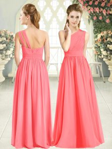 Hot Selling Watermelon Red Zipper One Shoulder Ruching Prom Gown Chiffon Sleeveless