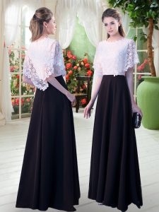 Scoop Short Sleeves Evening Party Dresses Floor Length Lace White And Black Satin