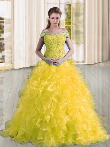 Stunning Sleeveless Sweep Train Beading and Lace and Ruffles Lace Up 15th Birthday Dress