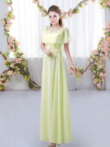 Yellow Green Empire Appliques Dama Dress for Quinceanera Zipper Chiffon Short Sleeves Floor Length