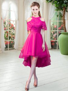 Popular Hot Pink A-line Lace Prom Gown Zipper Tulle Short Sleeves High Low