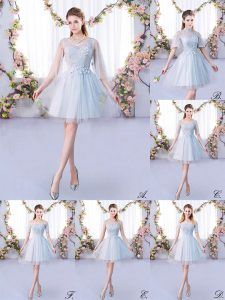 Sophisticated Grey 3 4 Length Sleeve Lace Mini Length Court Dresses for Sweet 16