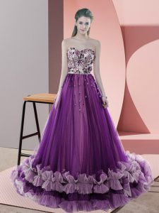 Glamorous Purple Sweetheart Neckline Appliques Prom Gown Sleeveless Lace Up