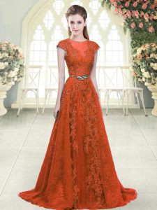 On Sale Scoop Cap Sleeves Tulle Beading and Lace Sweep Train Zipper