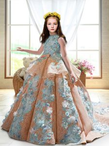 High-neck Sleeveless Pageant Gowns For Girls Court Train Appliques Peach Satin
