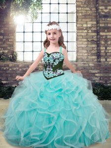 Low Price Floor Length Aqua Blue Little Girls Pageant Dress Wholesale Straps Sleeveless Lace Up