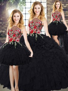 Most Popular Black Ball Gowns Scoop Sleeveless Organza Zipper Embroidery and Ruffles Quinceanera Dresses