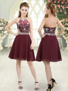 Burgundy Zipper Halter Top Beading Chiffon Sleeveless