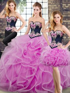 Lilac Sweetheart Lace Up Beading and Embroidery and Ruffles Vestidos de Quinceanera Sweep Train Sleeveless